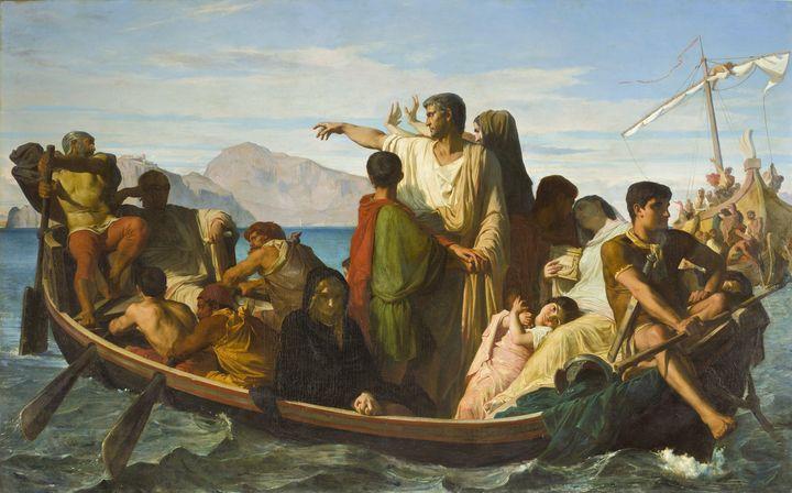 Félix-Joseph Barrias~Tiberius exiles - Old master