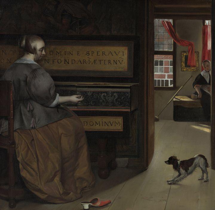 Gabriël Metsu~Lady at a Virginal - Old master