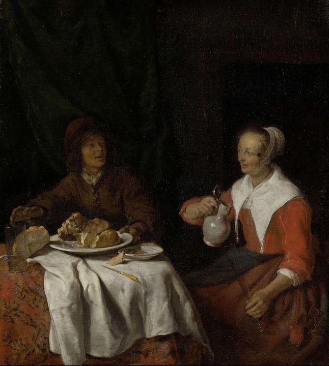 Gabriël Metsu~Man and Woman at a Mea - Old master