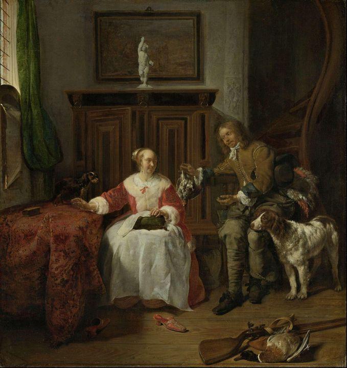 Gabriël Metsu~The Hunter's Present - Old master
