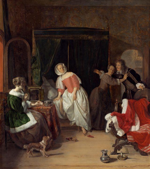 Gabriël Metsu~The Intruder - Old master