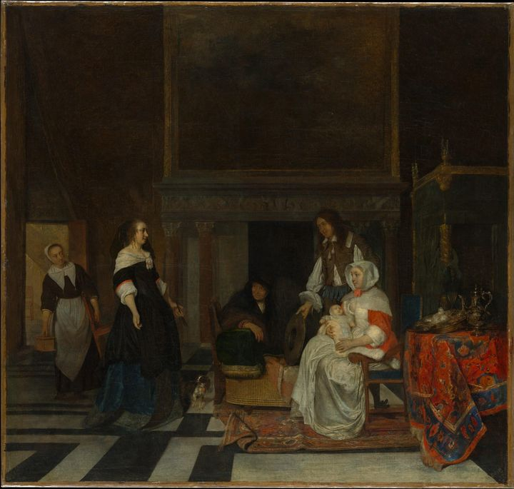 Gabriël Metsu~The Visit to the Nurse - Old master