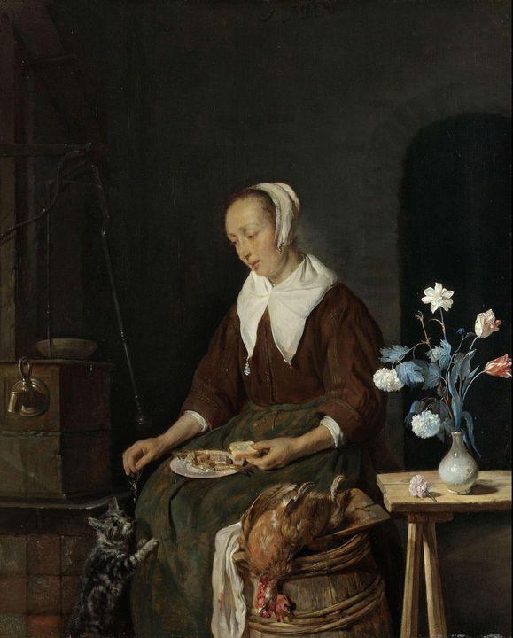 Gabriël Metsu~Woman Eating, Known as - Old master