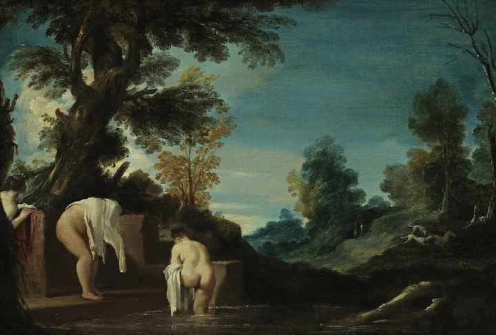 Guercino~Landscape with Bathing Wome - Old master