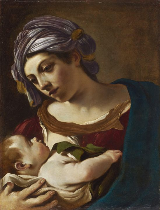 Guercino~Madonna and Child - Old master