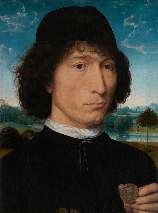 Hans Memling~Man with a Roman Coin - Old master