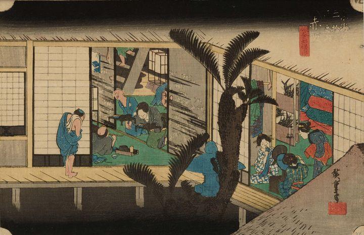 Hiroshige~Akasaka Scene at Inn - Old master
