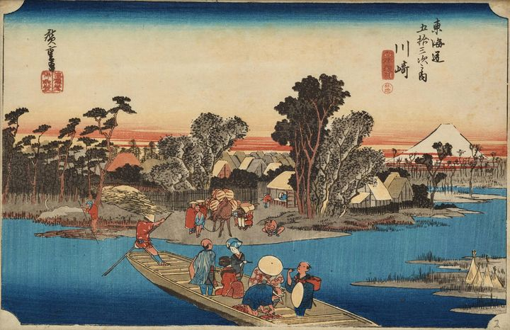 Hiroshige~Kawasaki Ferry on the Roku - Old master