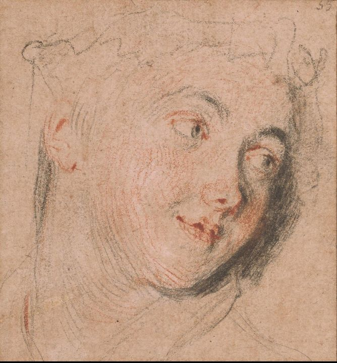 Jean-Antoine Watteau~Head of a Woman - Old master