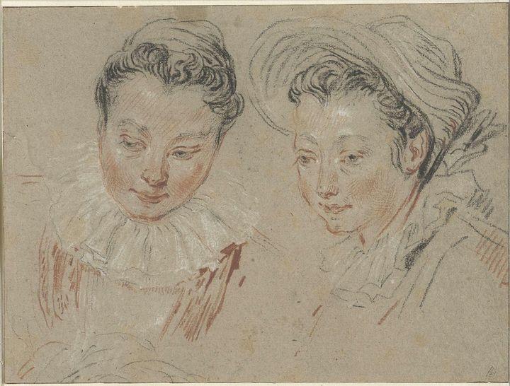 Jean-Antoine Watteau~Studieblad met - Old master