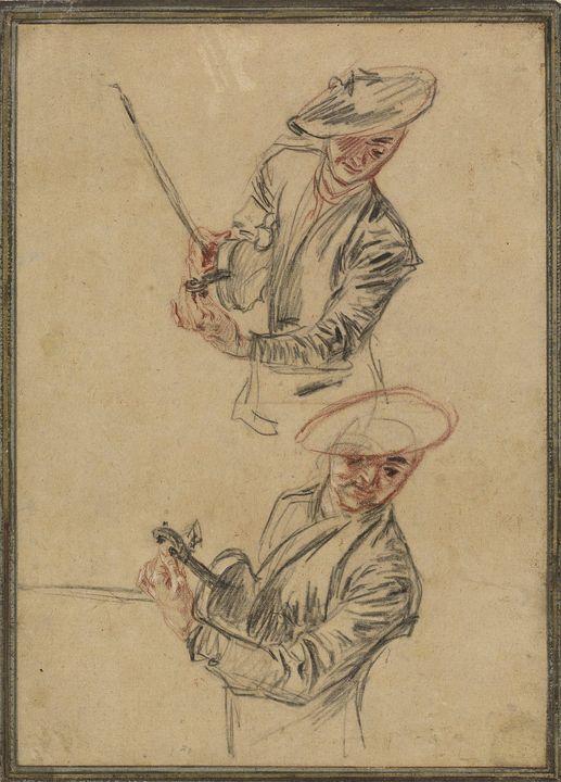 Jean-Antoine Watteau~Two Studies of - Old master
