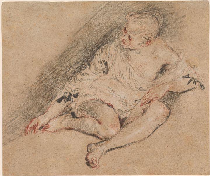 Jean-Antoine Watteau~Young Woman Wea - Old master