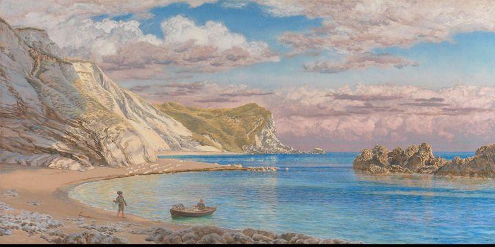 John Brett~Man of War Rocks, Coast o - Old master