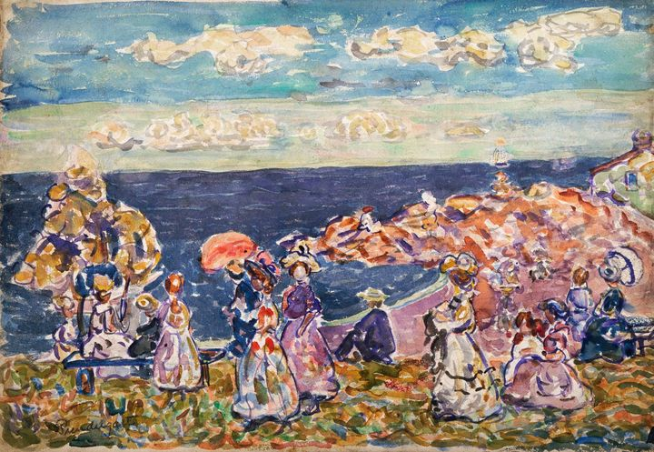 Maurice Prendergast~On the Beach - Old master