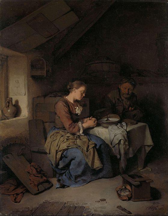 Cornelis Pietersz Bega~Saying Grace - Old master