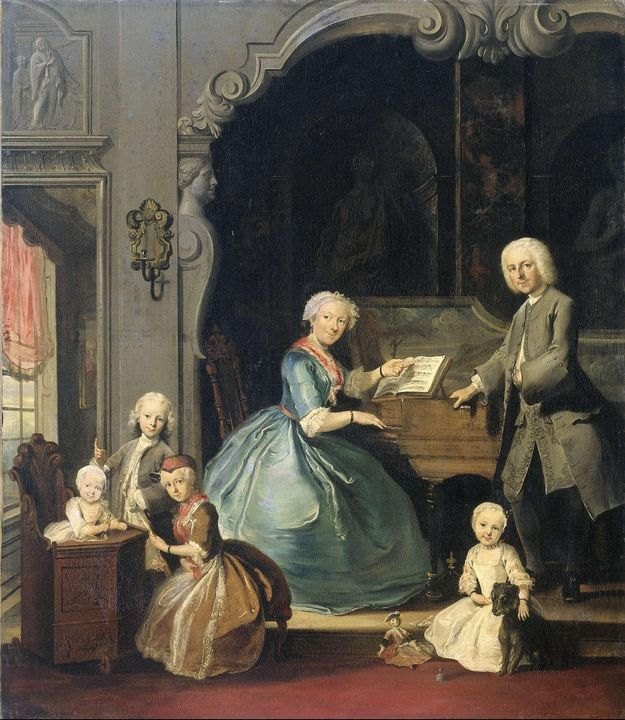 Cornelis Troost~Family Group near a - Old master