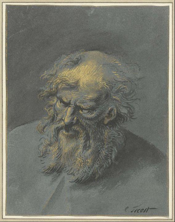 Cornelis Troost~Kop van een oude man - Old master