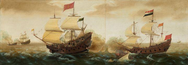 Cornelis Verbeeck~A Naval Encounter - Old master