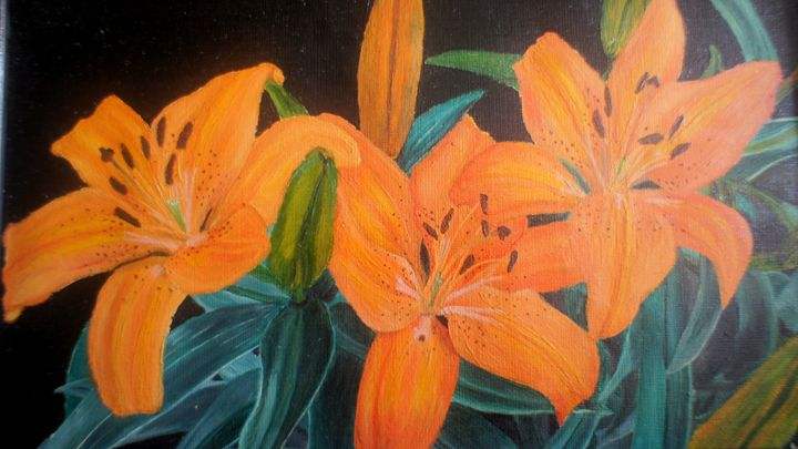 original Oil painting-flowers - Saran US Art works