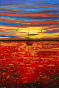 Magic sunset at the sea