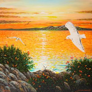seabirds at sunset