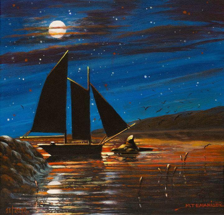 sailboat under the moonlight - Margaret
