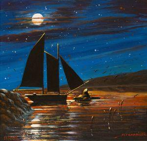sailboat under the moonlight