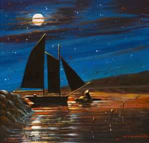 sailboat under the moonlight - Margaret