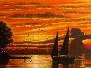 """Scouna"" sailing boat at sunset - Margaret"