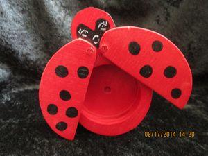 Wooden Lady Bug Trinket Box Handmade