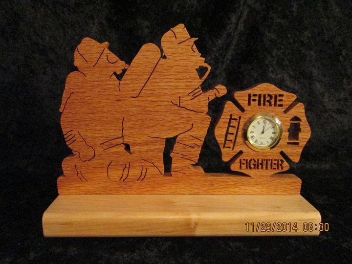 Fire Fighter Mini Clock Solid Wood O - PXWoodNJoys