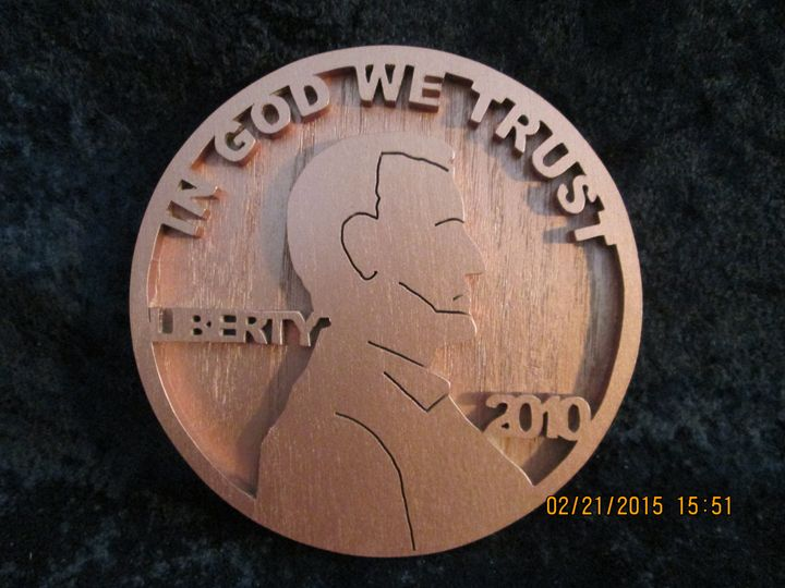 Giant Penny! Hand Made of Wood - PXWoodNJoys
