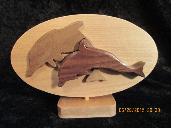 Handmade Wooden Dolphins at Play - PXWoodNJoys