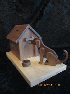 Dog House Bank - Solid Wood - Hand M - PXWoodNJoys