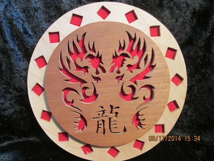 Double Dragon Wall Hanging Plaque - PXWoodNJoys