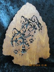 Wolf Fretwork Arrowhead Wall Hanging