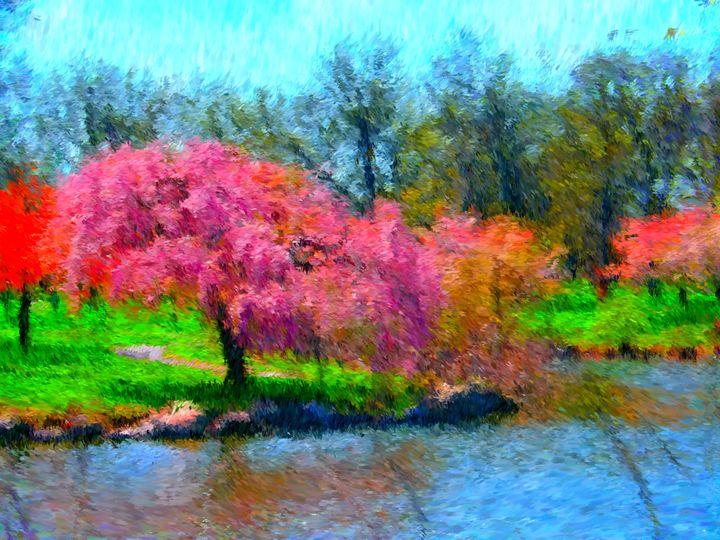 Pink Lake Shore Trees - Museum of A Lot of Art MOLOA