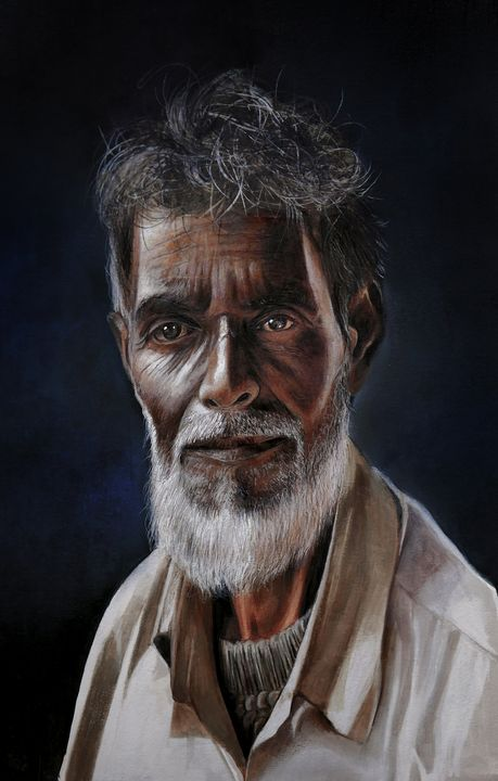 Chacha the daily wages worker. - Portraiture by Atish Banerjee