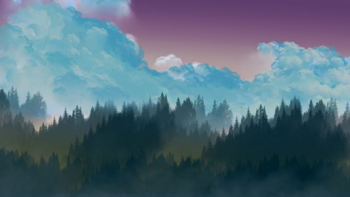 Evening landscape - Photoshoper