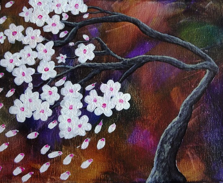 Abstract Tree White Cherry Blossoms - The Dusty Easel - Fine Art By Tara Cordero