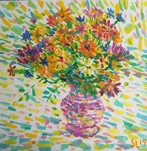 Flowers in pink vase