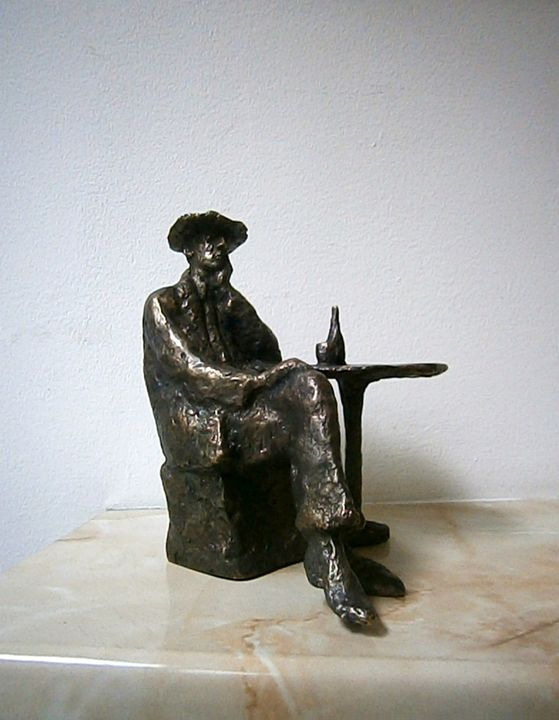 Sitting man with a bottle of wine - Miniature Gallery