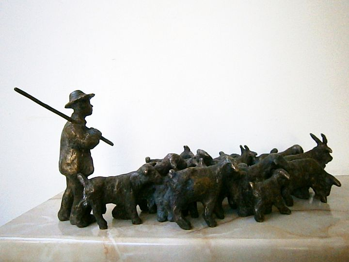 Shepherd with a flock of goats - Miniature Gallery