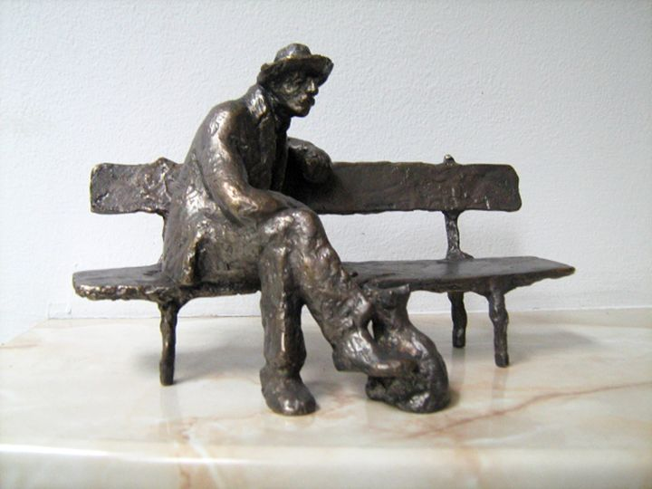 Old man with dog - Miniature Gallery