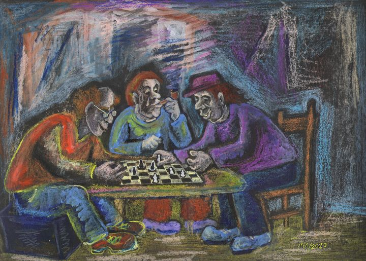 Humorous drawing of a Chess players - Miniature Gallery