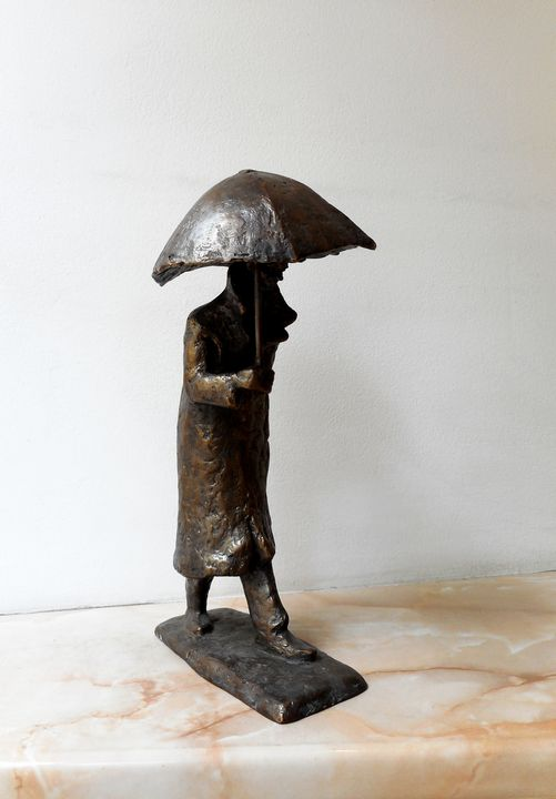 A walking man with an umbrella - Miniature Gallery