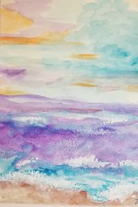 Watercolor Sea at Sunset