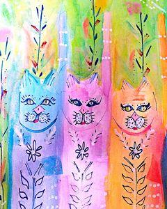My 3 Cats - Wild Woman Studio