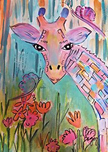 Giraffe in Colors - Wild Woman Studio