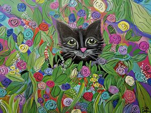 Black Cat in Bloom - Wild Woman Studio